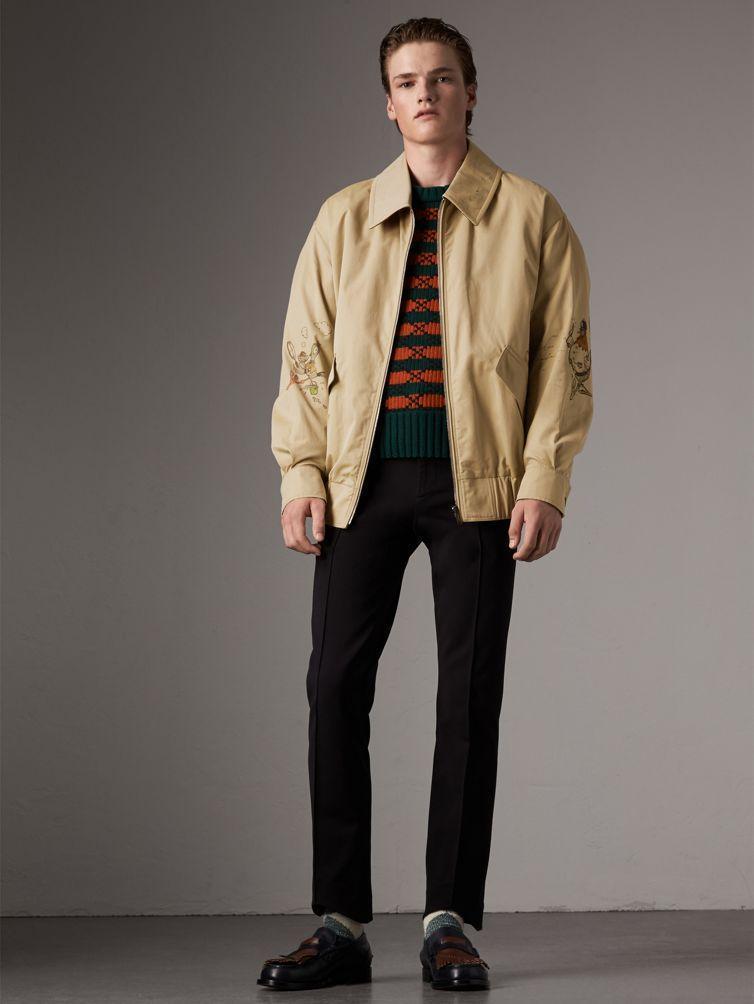 d70746e71de1 Burberry Sketch Print Cotton Gabardine Harrington Jacket In Honey ...