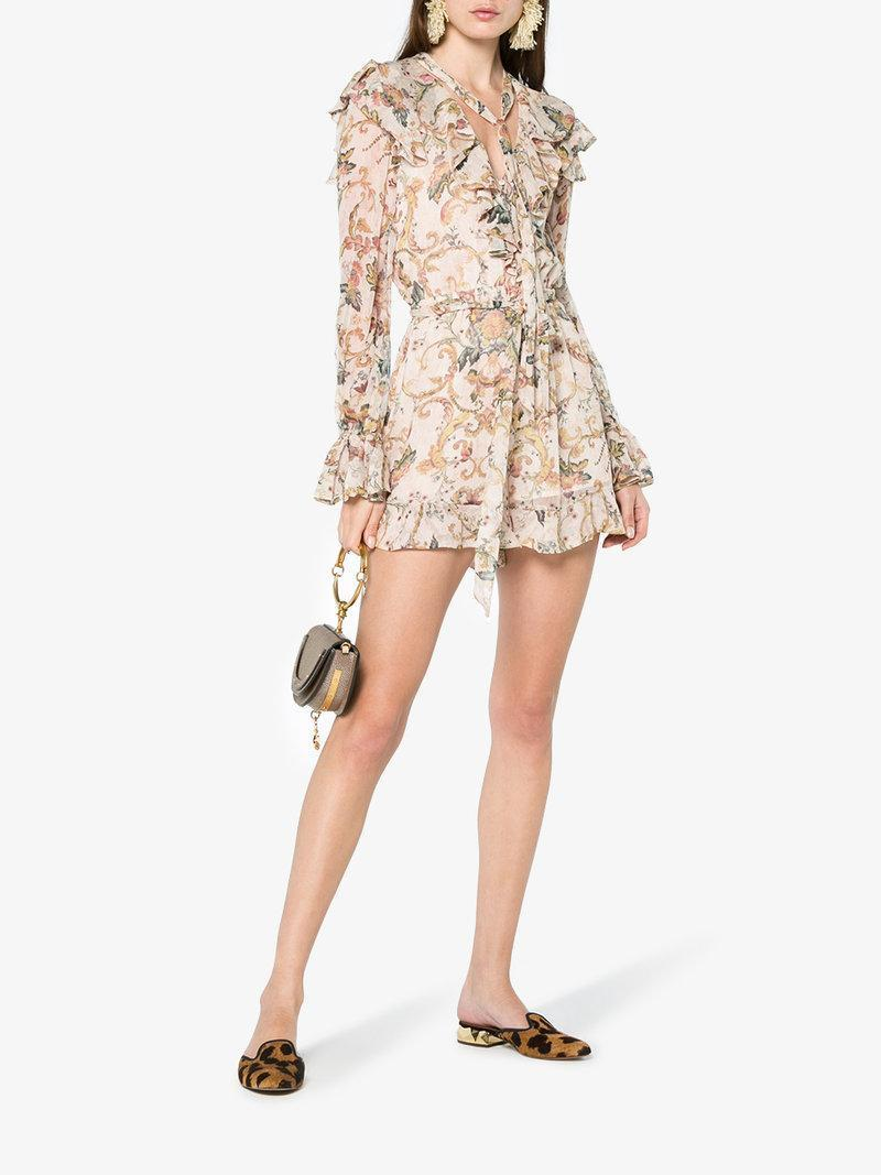 5f9993dca0 Zimmermann Silk Painted Heart Cascade Playsuit In Pink Multi
