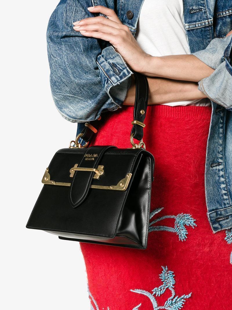 5c7695675d6e Prada Cahier Medium Calf Leather Crossbody Bag In Black | ModeSens