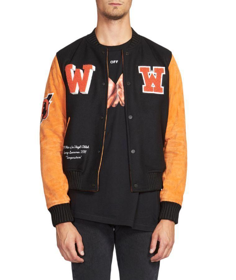 6a4a3f753223 OFF-WHITE Eagle Temp Appliquéd Wool-Blend Felt And Suede Bomber Jacket in  Black