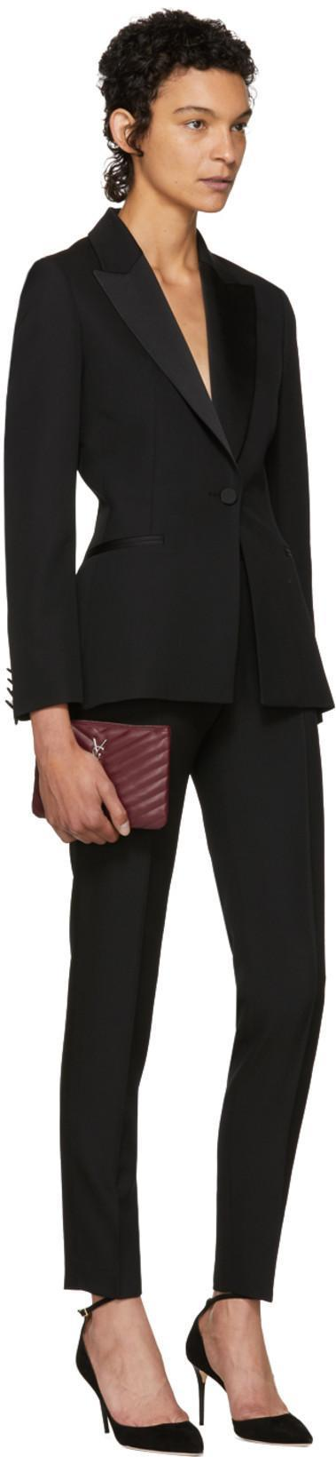 f05474205b8a SAINT LAURENT Monogram Small Chevron Quilted Zip-Top Pouch Bag - Silver  Hardware in Burgundy