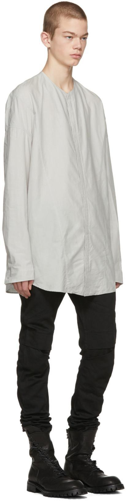 3f01443e2246 JULIUS Julius Grey Seamed Collarless Shirt in Plaster