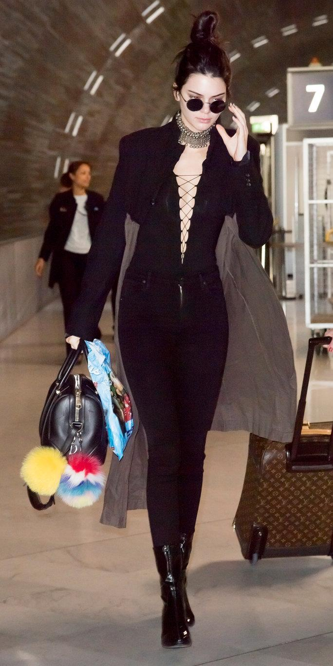 15c47c75d6 ALEXANDER WANG Stretch Faux Suede Long Sleeve Lace-Up Bodysuit in Black