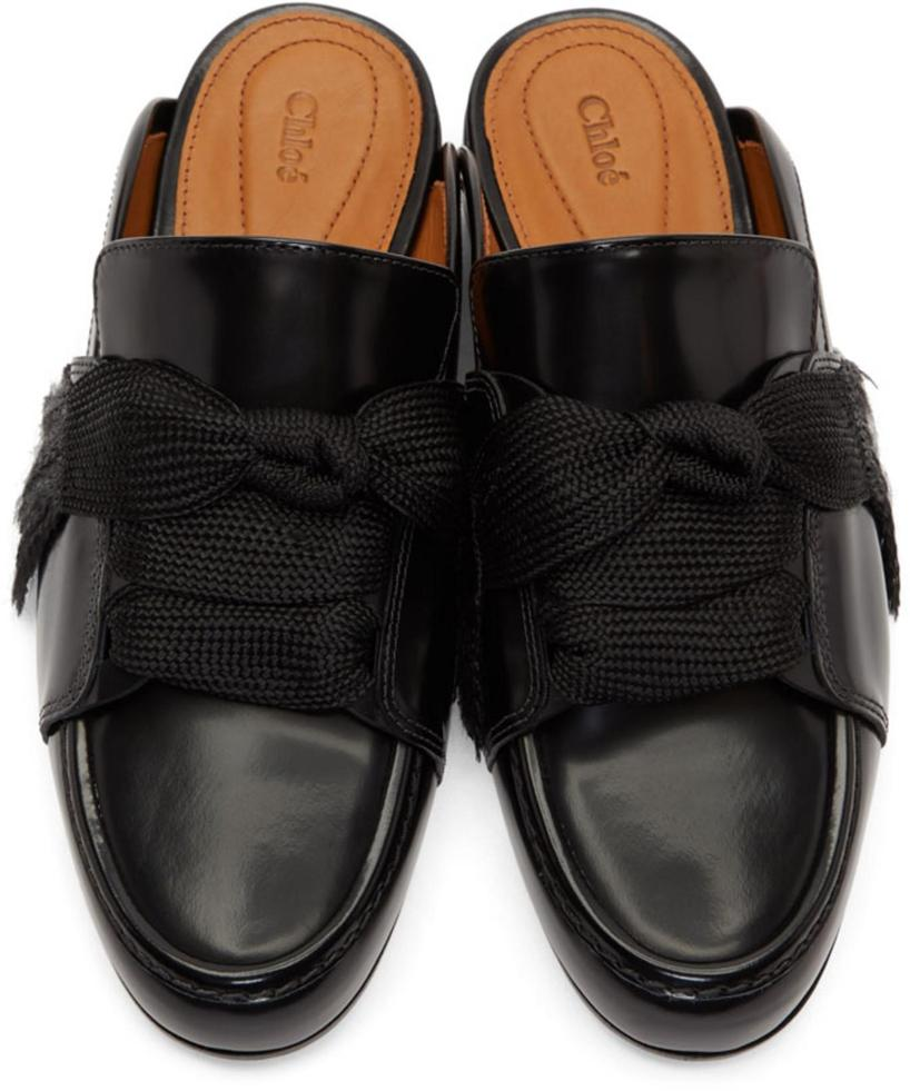 b666674c3f4 ChloÉ Harper Lace-Up Leather Backless Loafers In Black