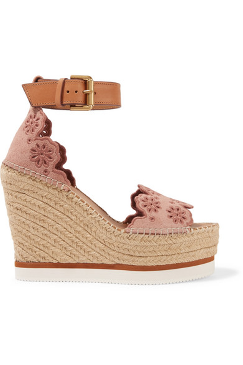 5526943ab75b SEE BY CHLOÉ See By Chloe Cutout Suede Espadrille Platform Wedge Sandals in  Cipria