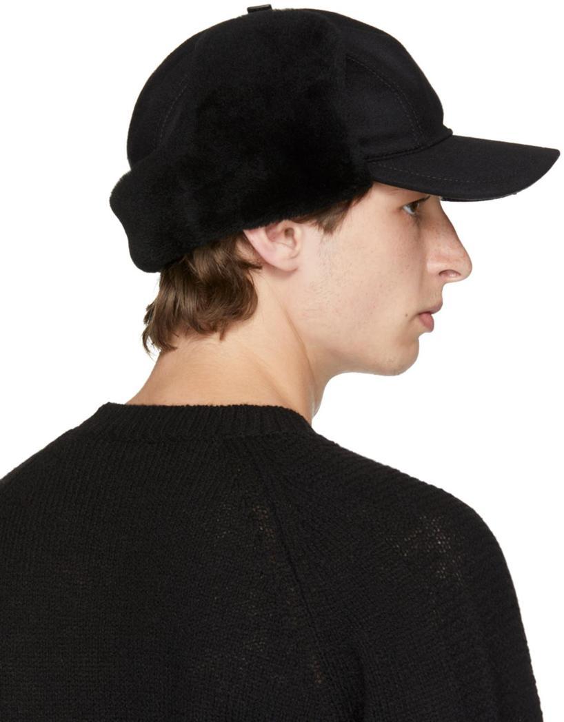 Prada Leather And Shearling Trapper Baseball Cap 01d02e0c1573