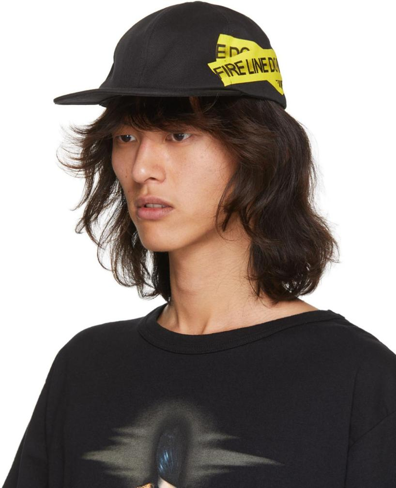 3af99549c5cd62 Off-White Fire Line Tape Canvas Baseball Hat In Blk/Yellow | ModeSens