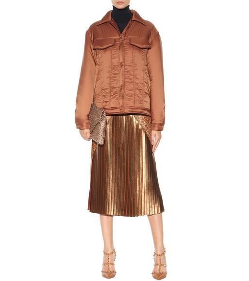 96d34c0678 STELLA MCCARTNEY Gianna Metallic Pleated Lace-Trim Skirt, Sienna in Brown