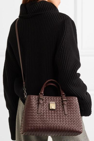 Bottega Veneta Roma Medium Intrecciato Leather Tote In Burgundy ... b35bd33b8e674