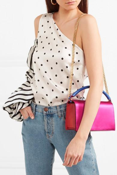 fe3b9c078470 DIANE VON FURSTENBERG Soirée Color-Block Satin And Leather Shoulder Bag in  Pink