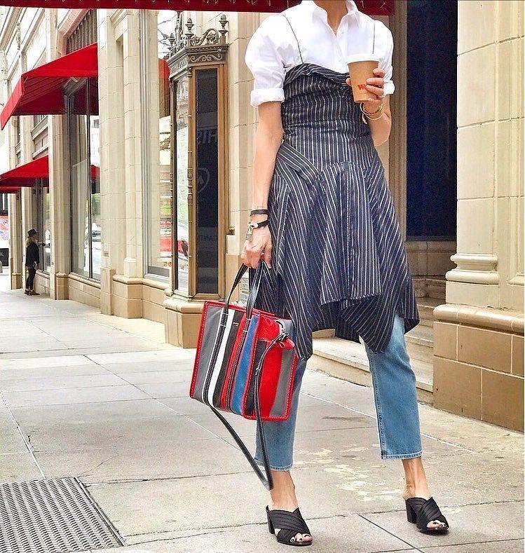 59c85ee90 BALENCIAGA Bazar Shopper Small Striped Leather Shopper Tote Bag, Gray/White /Black/