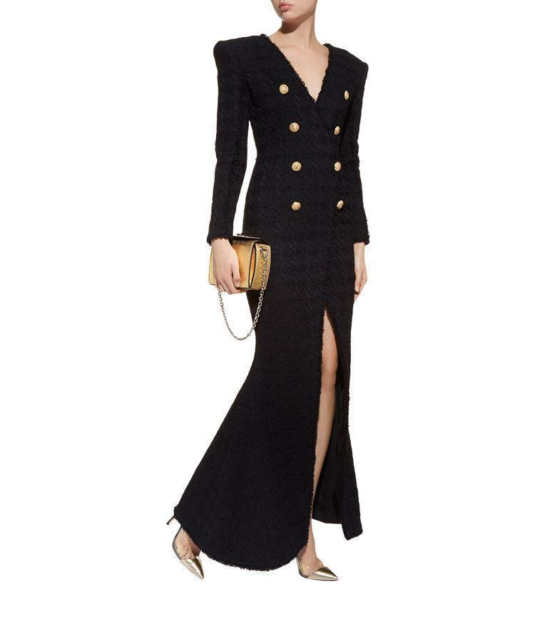 6eae7e9ac95f1c BALMAIN Deep-V Double-Breasted Front-Slit Tweed Evening Gown in Black