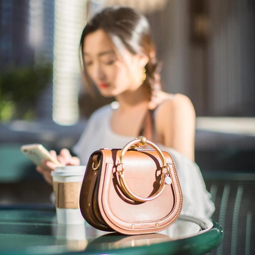 4291e74de7 ChloÉ Small Nile Leather & Suede Bracelet Bag In Carbon Brown   ModeSens