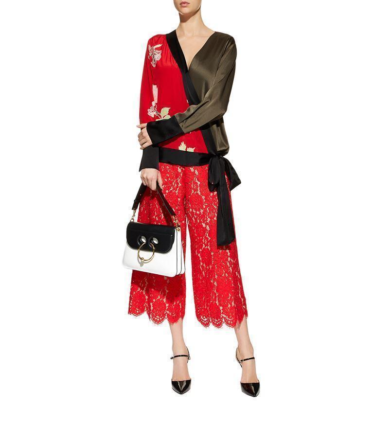bee5a92156db3 Diane Von Furstenberg Bell Sleeve Crossover Silk Blouse In Red ...