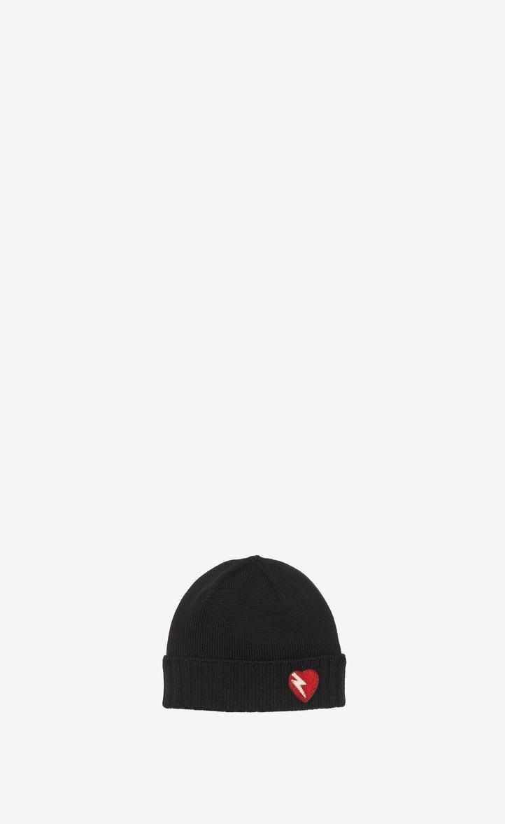 aeae33a94aa39 Saint Laurent Embroidered Wool Beanie In Black