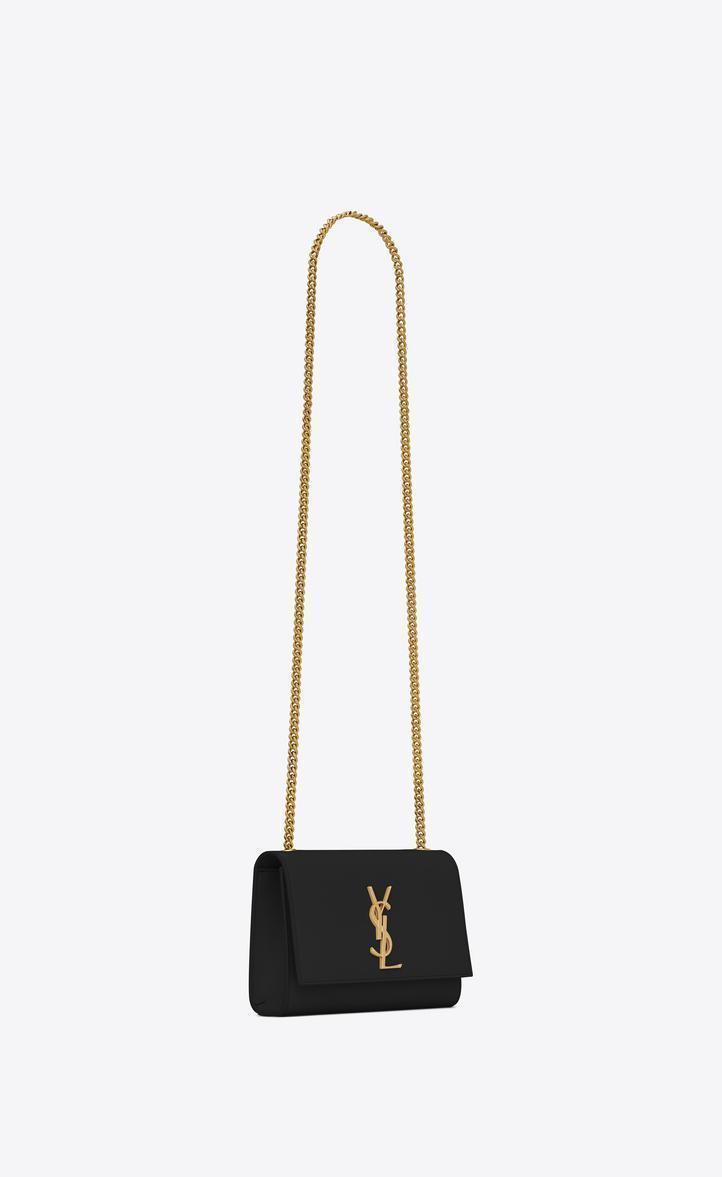 c8d86937dd SAINT LAURENT Classic Small Kate Satchel In Black Grain De Poudre Textured  Leather