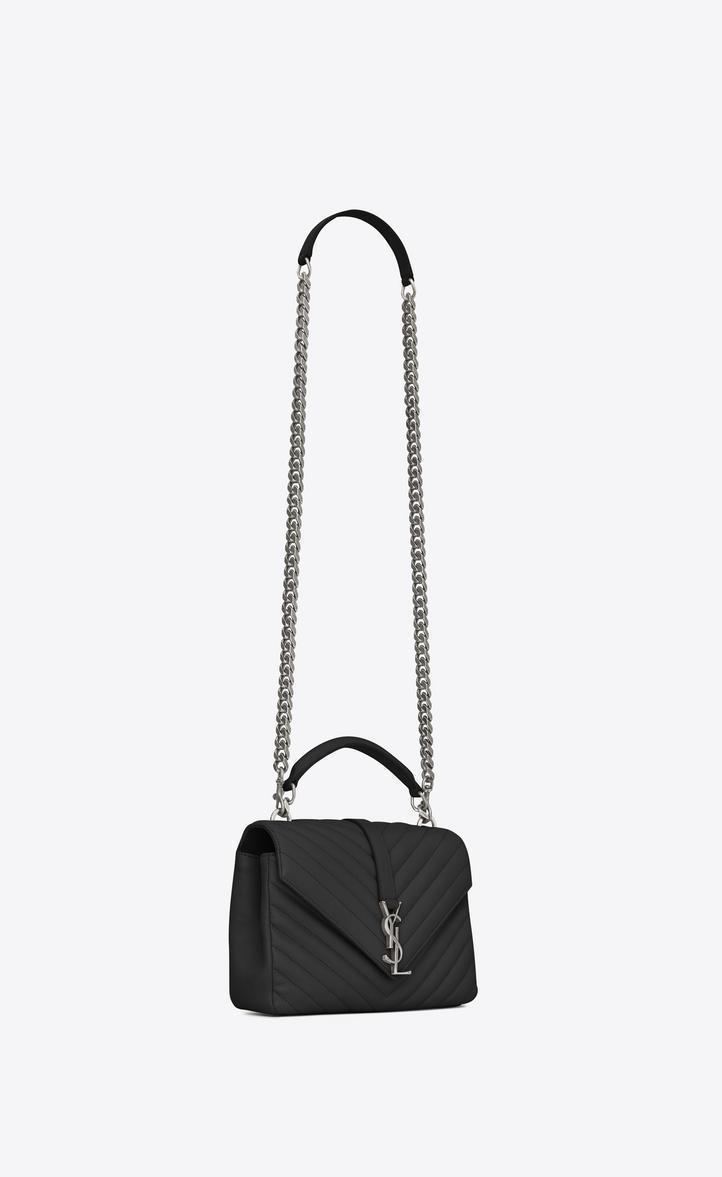 da6e1f33faa1 SAINT LAURENT College Medium Monogram Ysl V-Flap Crossbody Bag - Silver  Hardware in 1000