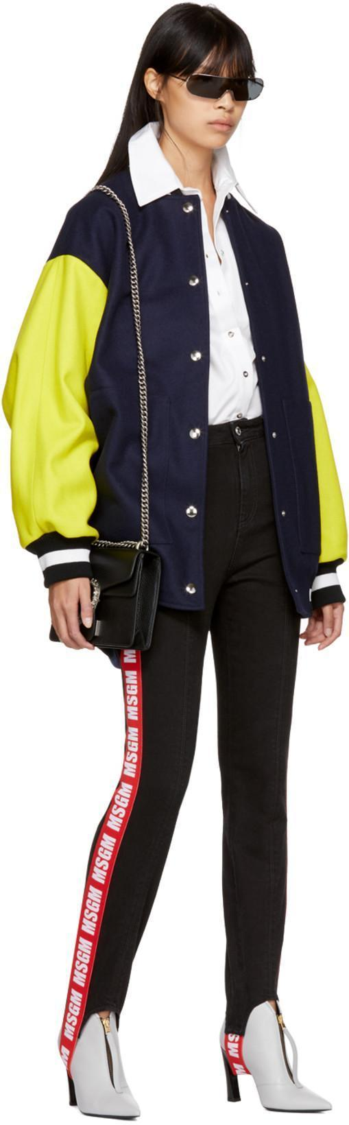 8a2b8d5c9c MSGM Woman Oversized Sequin-Embellished Wool-Blend Bomber Jacket Navy in  Blue