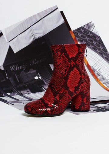 Maison Margiela Socks Print Python Effect Ankle Boots In Red | ModeSens