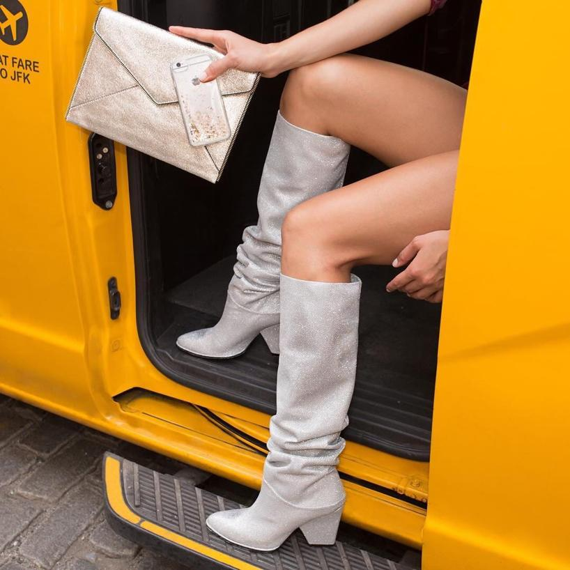 ceb565e8163 Smashing Scrunched Metallic Tall Boots in Silver