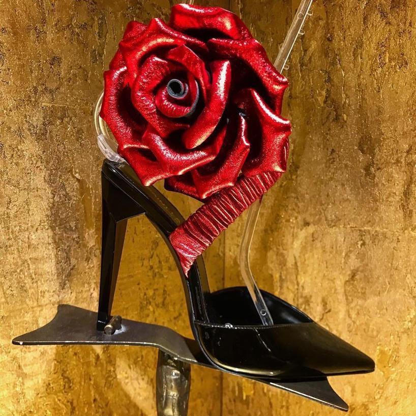 e3e080667c5 Saint Laurent Freja 105 Pump With Red Flower In Black Patent Leather ...