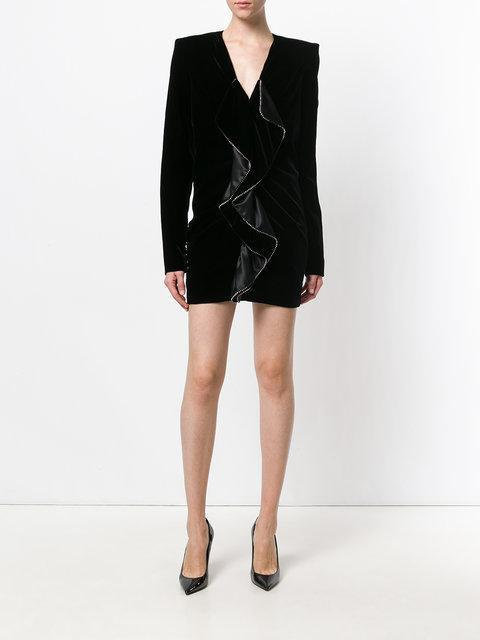 530675a498 Saint Laurent Zipped Mini Dress With Square Shoulders And Ruffles In ...