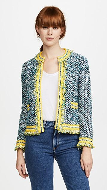 2f39a55350 M Missoni Frayed Tweed Open Front Cardigan In Navy