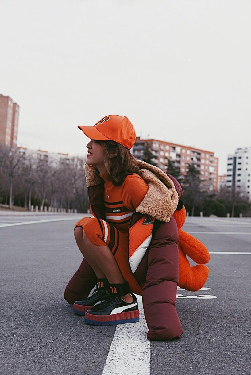 b3564e4d9a9 Fenty X Puma Fenty Puma By Rihanna Mascot Bear Backpack In Orange ...