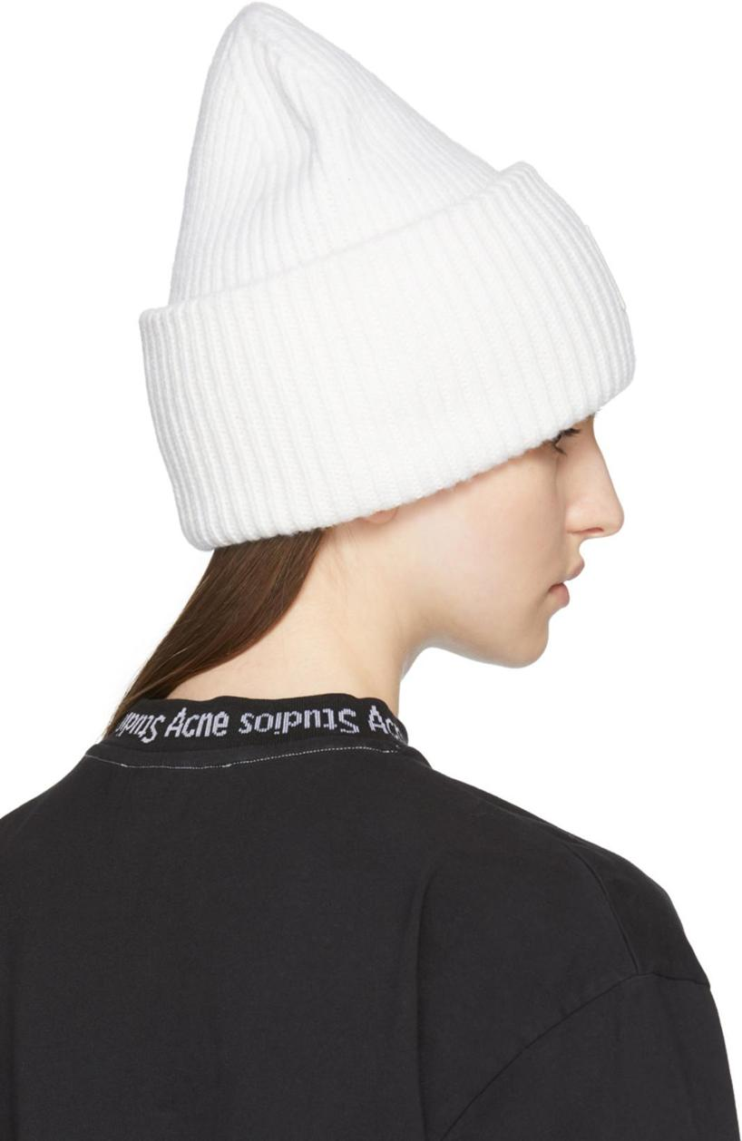 0e3b8b0adbe Acne Studios Pansy S Face Ribbed-Knit Beanie Hat In Natural Whi ...