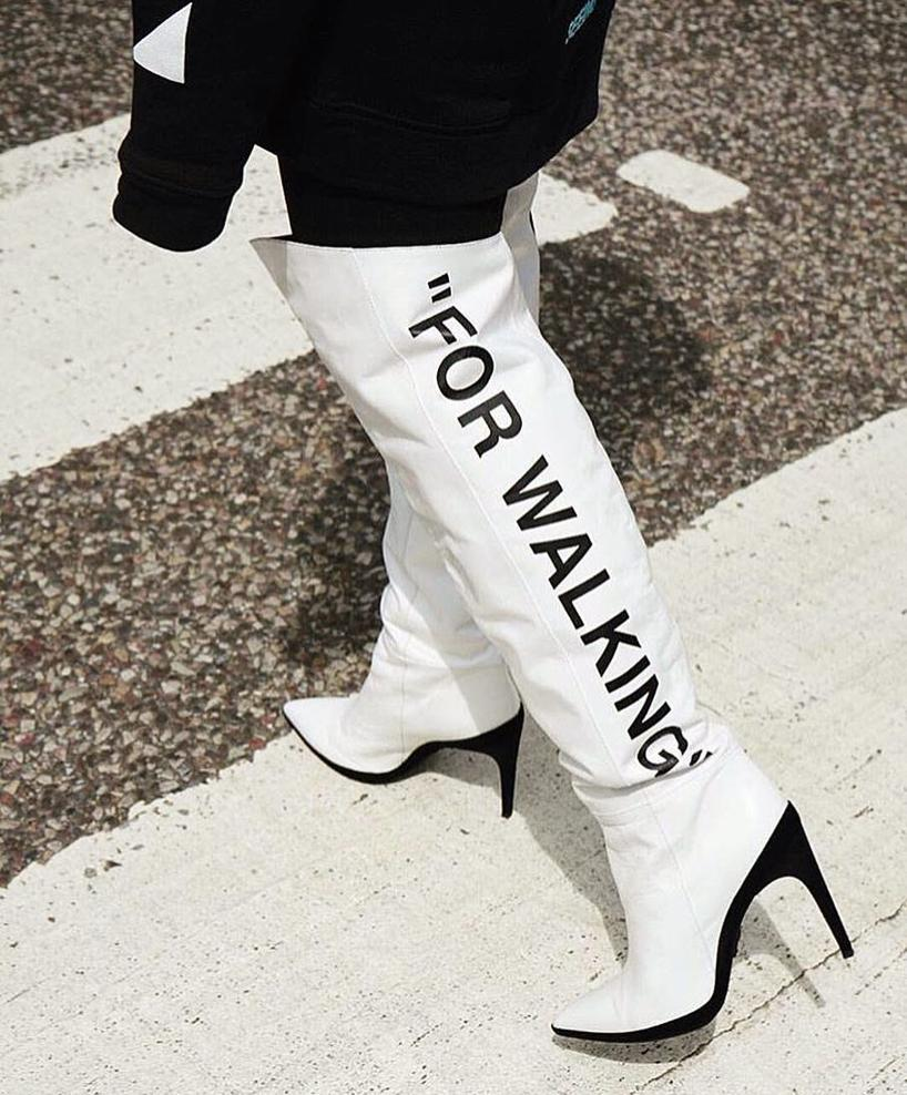 b0a7beb4970 Off-White For Walking Printed Leather Over-The-Knee Boots In 0110 ...