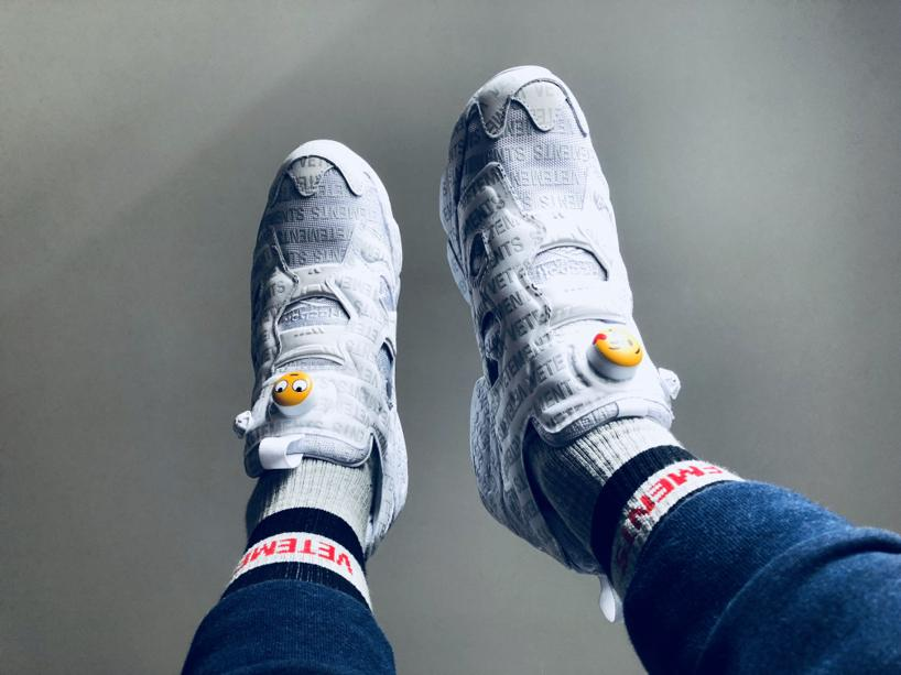 3f92b984b87 VETEMENTS + Reebok Logo Instapump Fury Logo-Print Leather And Mesh Sneakers  in White