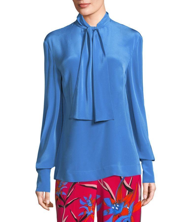 a9811ad24253e Diane Von Furstenberg High Neck Long-Sleeve Silk Bow Blouse In ...