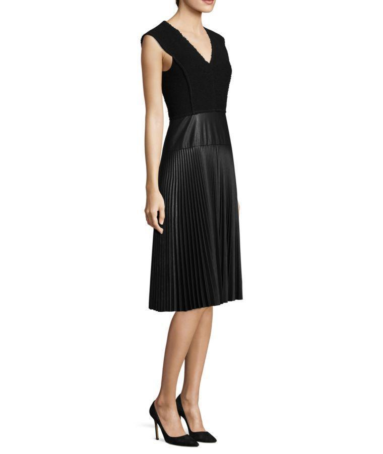 a2df32dbff Rebecca Taylor Knit & Vegan Leather Pleated Dress In Black | ModeSens