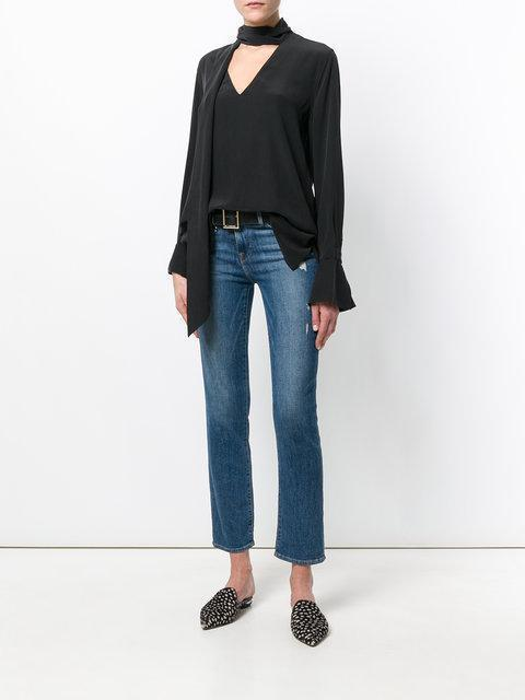 444c7f9b43878a Equipment Jacqueleen Pussy-Bow Washed-Silk Blouse In True Black ...