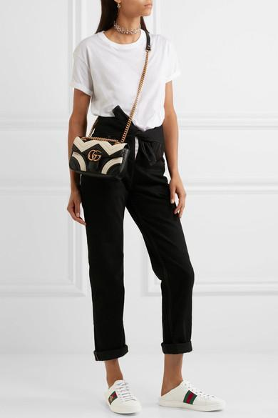 9be3cf4a6969f6 GUCCI Gg Marmont MatelassÉ Leather Super Mini Bag, Black/White
