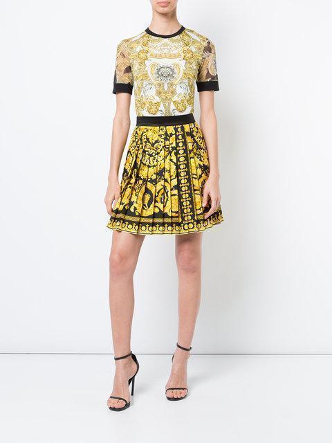 d4e901ae48 Versace Baroque Print Silk Twill Mini Skirt In Gold/Multi   ModeSens