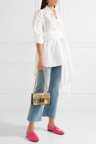 0ad415528d56 GUCCI Padlock Small Coated-Canvas And Leather Shoulder Bag in Beige-Multi