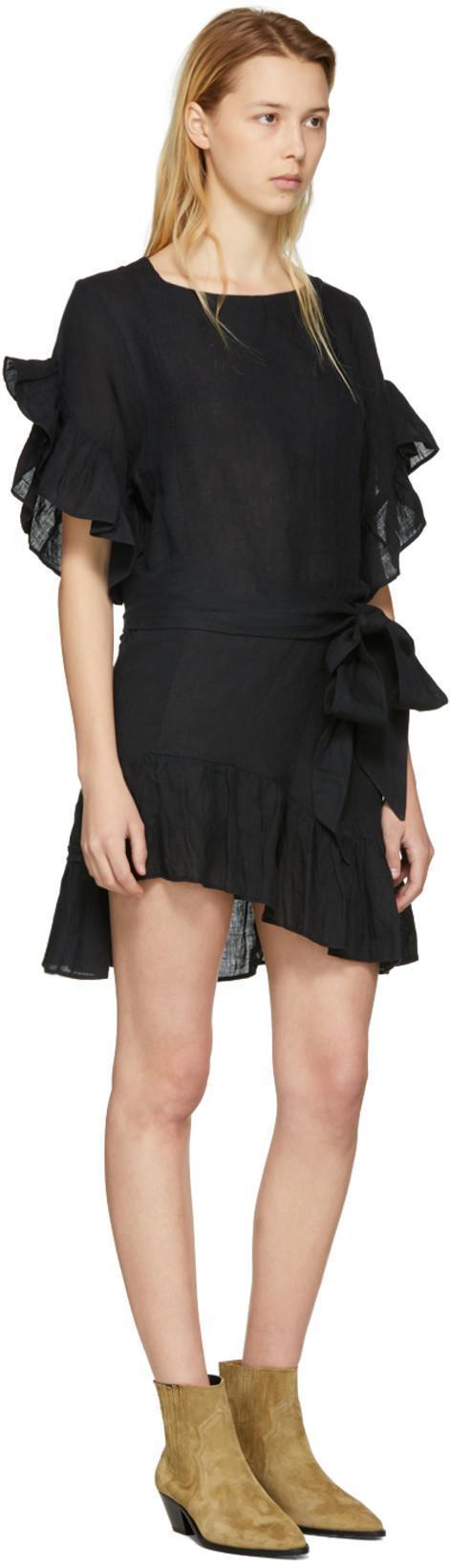 9c9cb71632b ETOILE ISABEL MARANT Isabel Marant Etoile Delicia Chic Linen Wrap Dress In  Black