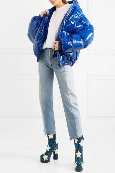 6d3f19319f1cf Vetements AppliquÉD Leather Platform Ankle Boots In Dark-Teal Blue ...