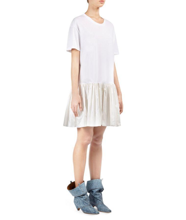 9239457c0 Stella Mccartney Drop Waist Taffeta Hem T-Shirt Dress In White ...