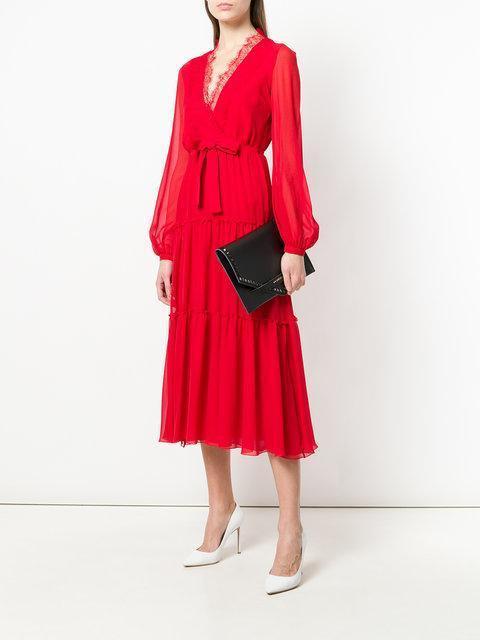 GIAMBATTISTA VALLI V-Neck Lace-Trimmed Silk-Georgette Dress in Crimson-Red 3f8b7ad8b
