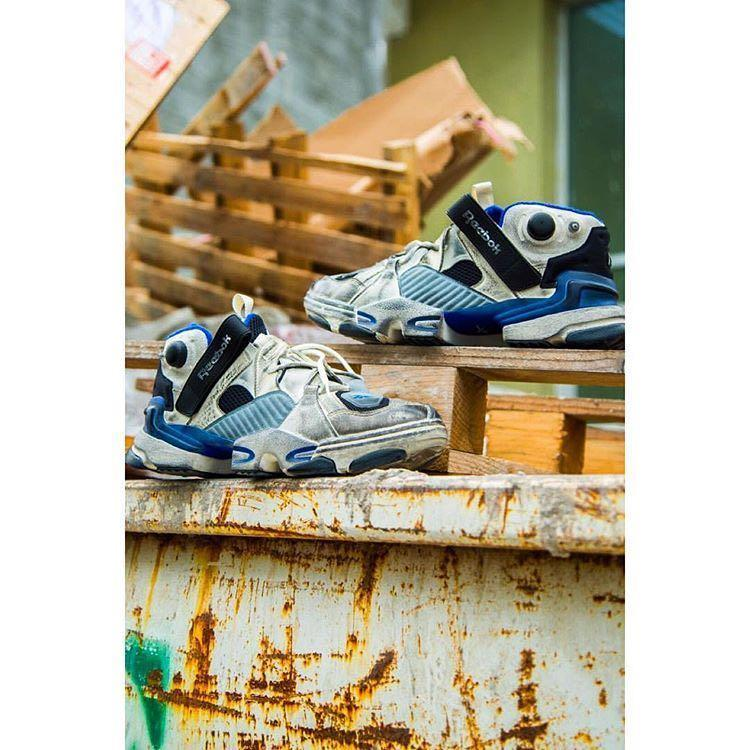 VETEMENTS Reebok Genetically Modified Pump Distressed Leather And Mesh  Sneakers in Multi 60f67aa3c