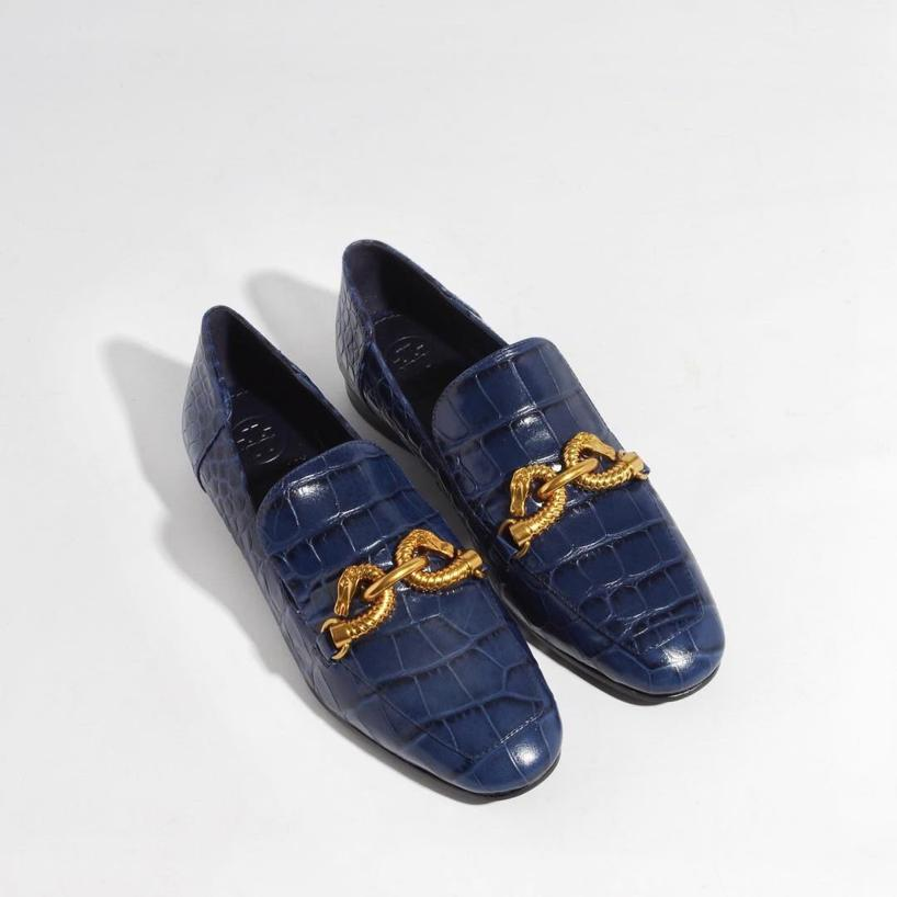 2ac17552e TORY BURCH Jessa Royal Navy Croco Embossed Leather Loafers W Goldtone Horse  Hardware