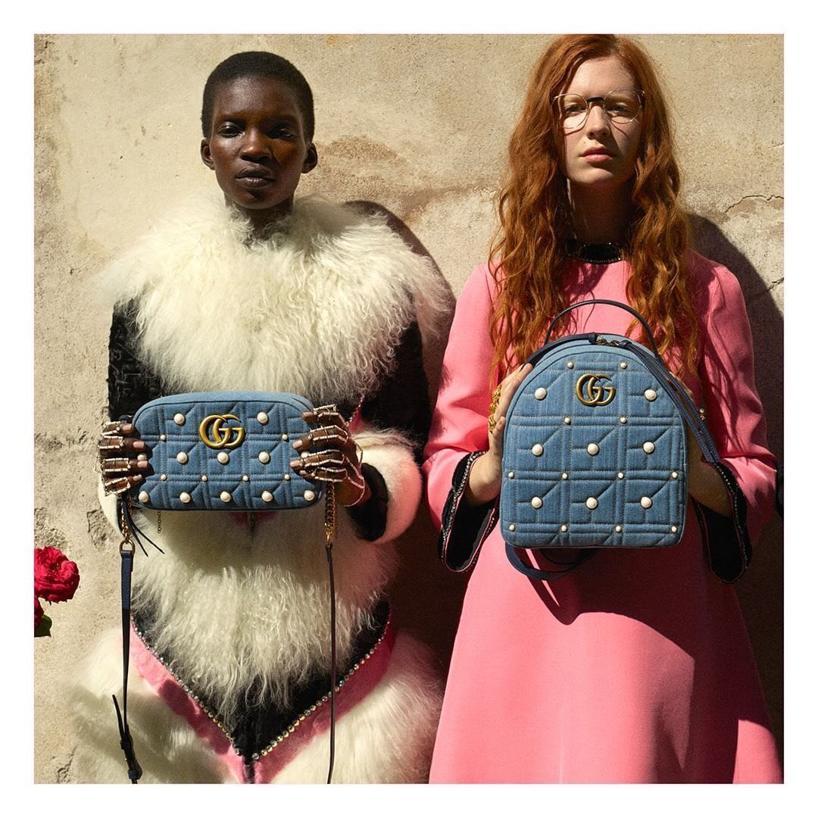 7d21be1a2ebc GUCCI Gg Marmont 2.0 Imitation Pearl Embellished Denim Backpack - Blue in  Denim Blue