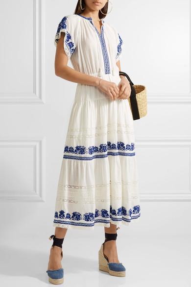 81b55226da79 Sea Crochet-Trimmed Embroidered Cotton-Gauze Midi Dress In Ivory ...