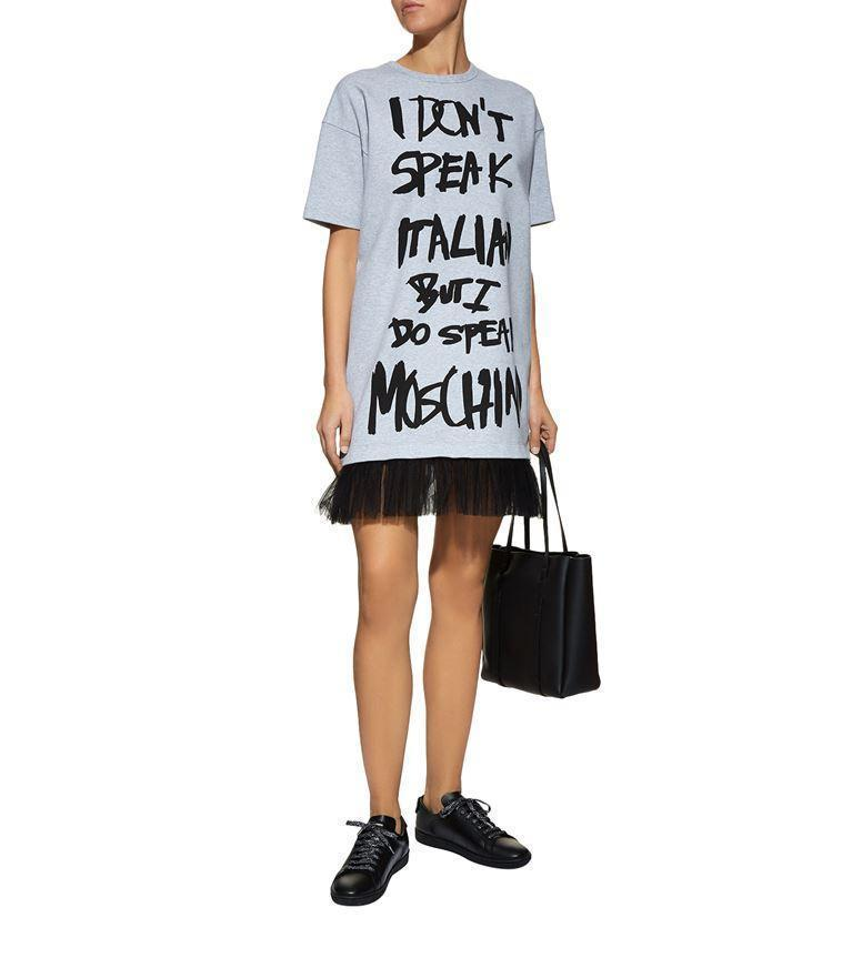b3e2b5b0cd639 Moschino I Don'T Speak Italian T-Shirt Dress In Grey | ModeSens