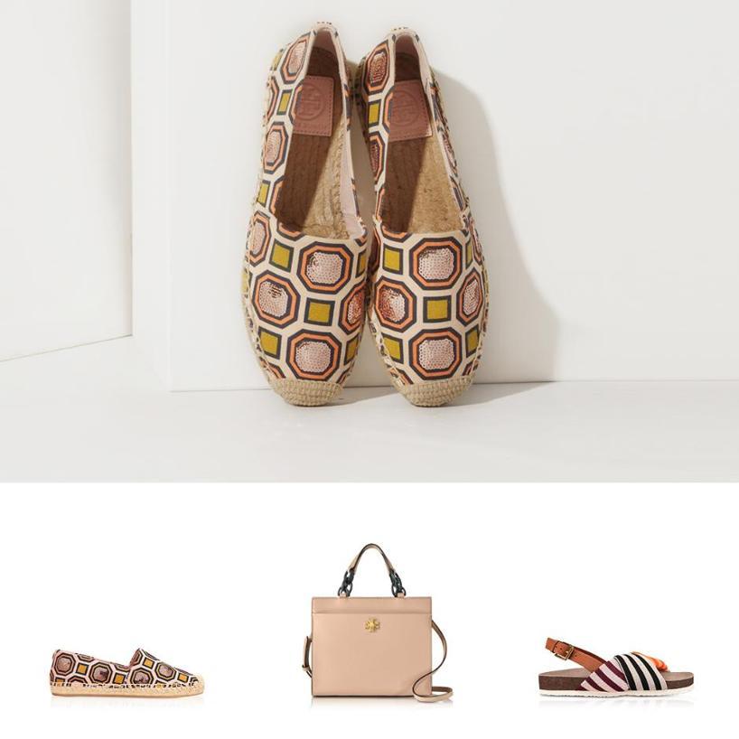 b59661d6339 TORY BURCH Corey Multi Patchwork Stripe Tech Knit Fabric And Leather  Flatform Sandals