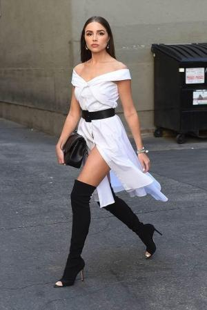 b8b2d9f3e00f27 Marled X Olivia Culpo Off Shoulder Tie Front Shirt Dress In White ...