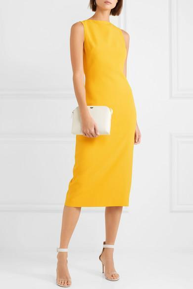 BRANDON MAXWELL Sleeveless Boat-Neck Double-Face Crepe Sheath Midi Dress in  Bright Yellow 1515c92ee