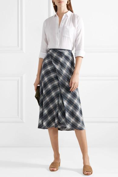 90ae0873320bed Vince Shadow Plaid Side-Drape A-Line Midi Skirt In Gray   ModeSens